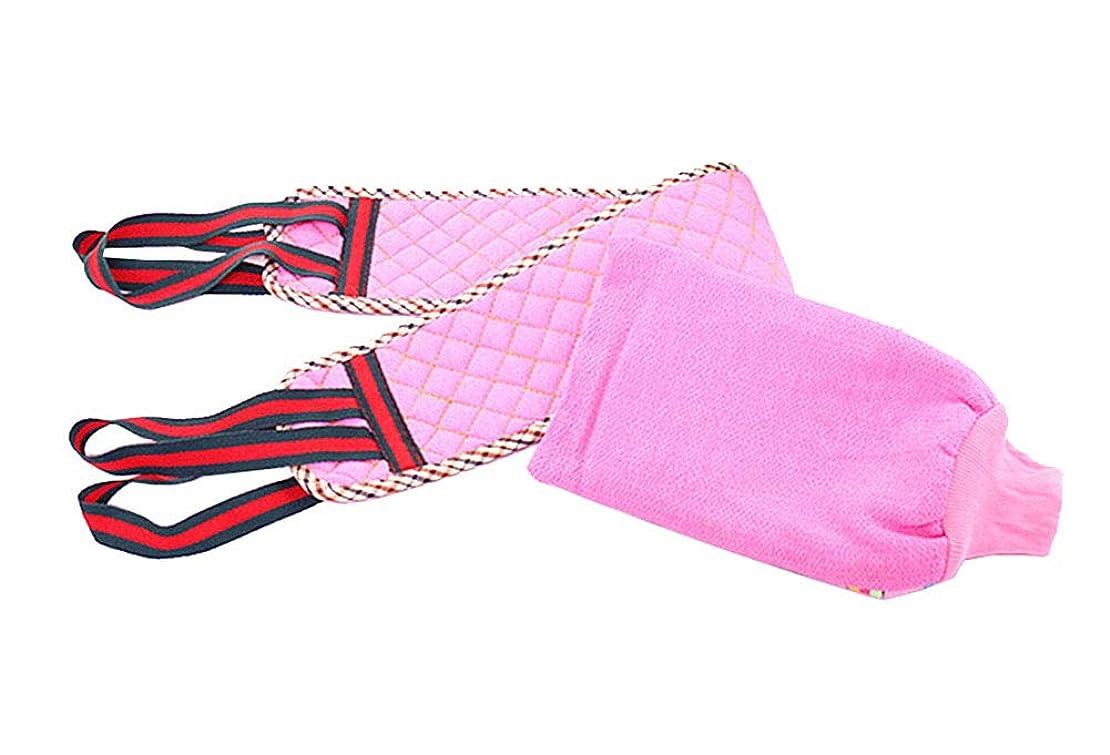 クロール素晴らしきぼかしバスタオルプルバックストリップ両面シックニングストロングマッドグローブ、ピンク