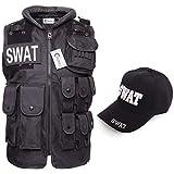 SWAT コスプレ ポリス 警察 変装 コスチューム パーティー AIRSOFT スワット SWAT ベスト (帽子) キャップ コスプレ 男女兼用 2点セット お得セット