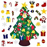 TAKSON 3ft DIY Felt Christmas Tree Set with 30Pcs Christmas Ornaments for Kids, Xmas Gifts, New Year Door Wall Hanging Decorations