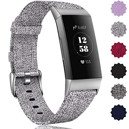 Maledan Bands Compatible with Fitbit Charge 4/Fitbit Charge 3/Charge 3 SE Fitness Activity Tracker for Women Men, Breathable Woven Fabric Replacement Accessory Strap, Light Grey, Small