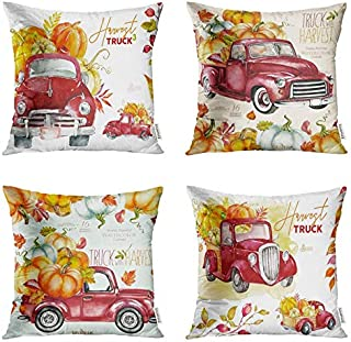 Emvency Set of 4 Throw Pillow Covers 18x18 Inches Decorative Cushion Vintage Fall Red Truck and Pumpkin Autumn Farmhouse Market Thanksgiving Polyester Pillow Cases Square Pillocases for Bed Sofa
