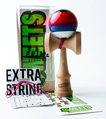 Sweets Kendamas 5-Stripe Prime Kendama - All Levels, Stripe Design, Extra String Accessory Gift Bundle (Slushy)