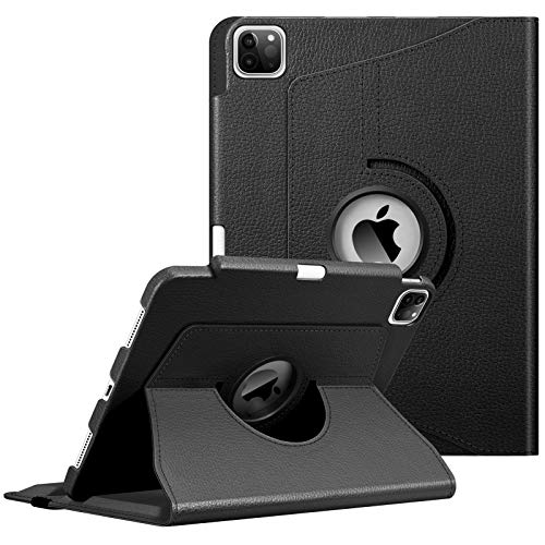 FINTIE Case with Built-in Pencil Holder for iPad Pro 11' 2020/2018 [Support 2nd Gen Pencil Charging Mode] - 360 Degree Rotating Stand Protective Cover with Auto Sleep/Wake, Black