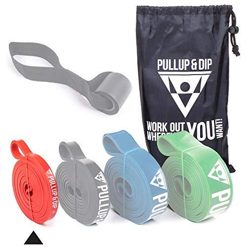 PULLUP & DIP Elastico Fitness per Trazioni, Bande Elastici Fitness, Bande Elastiche di Resistenza (Luce Extra (Rosso))