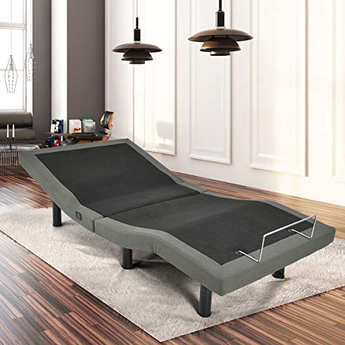Giantex Adjustable Massage Bed Base Wireless Remote USB Charge Ports Upholstered Zero Gravity Anti-Snore TV Position Memory Function Silent Electric Bed Base/Emergency Backup (Twin XL)