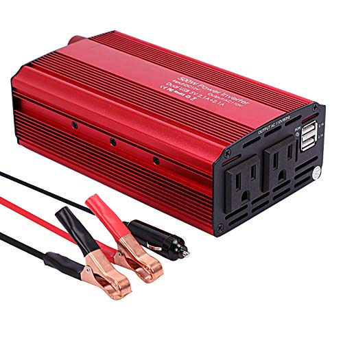 Qukpa 500W Power Inverter Car Charger Adapter DC 12V to 110V AC Converter with 4.2A Dual USB Car Adapter