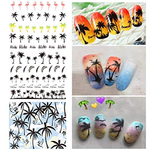 3 pcs Summer Style Coconut Trees Beach Shoes Nail Water Decals Transfer Stickers Black Feather Leaves Nail Art Stickers Tattoo Decal