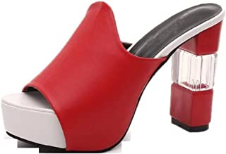 THE LONDON STORE Women's Red Black & White Leather Party Pumps