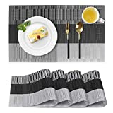 Placemats for Dining Table, Washable Heat-Resistant Table Mats, Stain Resistant Anti-Skid Woven Vinyl Place Mats Placemats Set of 4 (Black)