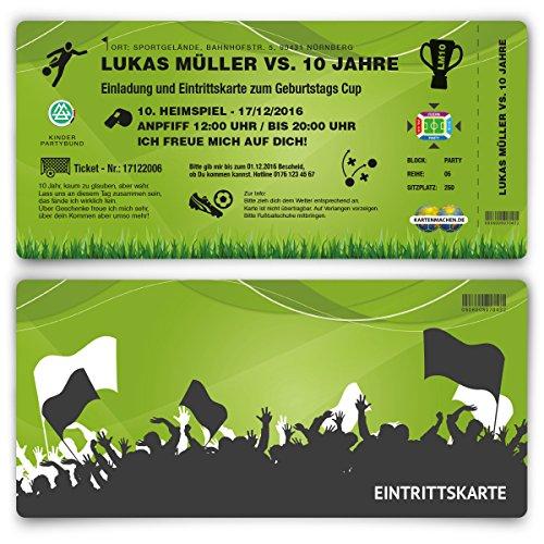 Einladungskarten (40 Stück) zum Geburtstag für Kinder im Fußball Ticket Motiv - Grün