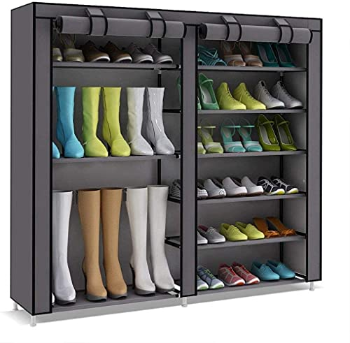ZAIHW Zapatero Botas Cubos de Almacenamiento para 27 Pares de Zapatos Marrón 120 X 30 X 110 Cm Taburete para Cambiar Zapatos (Color: Gris)