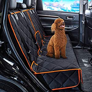 Dog Car Seat Covers Nonslip Rear Seat Cover for Kids Waterproof Pet Bench Seat Cover with Middle Seat Belt Capable for Cars Heavy-Duty Pet Car Seat Cover Protector Armrest Compatible for Cars & SUVs