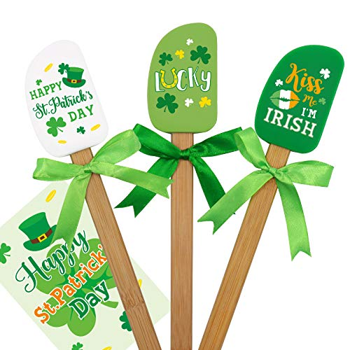 St. Patrick's Day Silicone Spatula Set with Green Ribbon Bows Happy Saint Paddy's Day Greeting Card for Irish Holiday Baking Gifts Shamrock Kitchen Cooking Supplies Set of 3