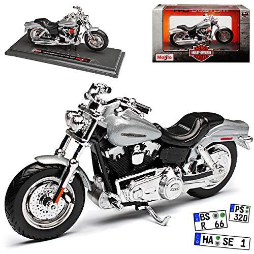 HarIey Davdson 2009 FXDFSE CVO Fat Bob Silber Mit Sockel 1/18 Maisto Modell Motorrad mit individiuellem Wunschkennzeichen