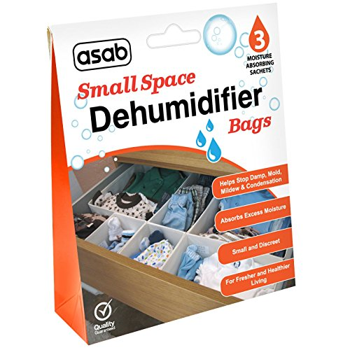 ASAB Wardrobe Dehumidifier Bags | Drawers Dehumidifying Sachets | Small Spaces Moisture Trap | Damp Absorber with Crystals | Humidity Catcher | Wet Remover (3 Bags)