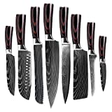 Damascus Chef Knife Set. Professional Japanese High Carbon Steel....