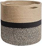 Danolt Cesta de Cuerda de Algodón de 28 x 28 cm Cuerda Algodón Cesta para Colada con asa para, Decoración del Hogar, Almacenamiento de Juguetes para Lavandería