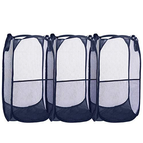 Belle Vous Cestos Ropa Sucia Azul Malla Plegable Canasto Colada (Pack de 3) Cesta Ropa Portátil Fácil de Abrir Duradero con Asas – para Ropa, Lavar, Cesto Juguetes Infantiles