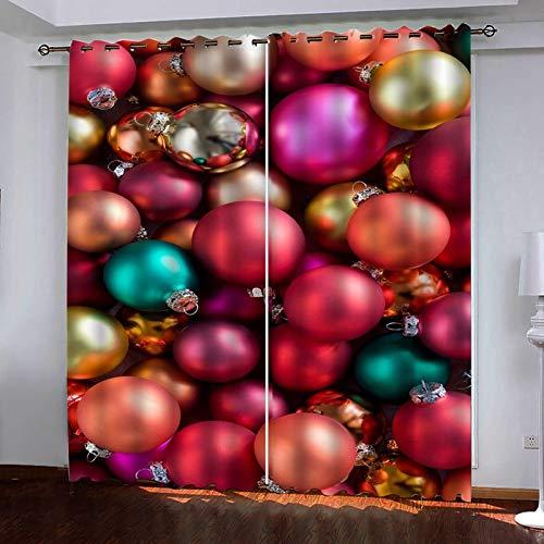 Beydodo Cortinas Exterior Poliester Cortinas Termicas 2 Piezas Bolas de Navidad Rojo Verde Cortinas Habitacion274x244CM