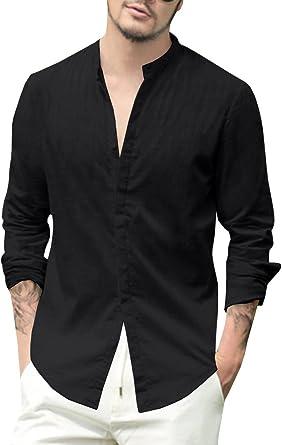 Gemijacka Camisa de lino para hombre, corte regular, de manga larga, con botones, para ocio, de lino y algodón