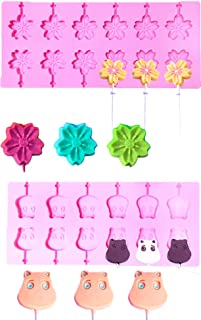 Kisweet 2 Sets 12-Capacity Silicone Lollipop Mold 24-Cavity Sakura Bear Chocolate Hard Candy Cake Pop Mold with Paper Stick