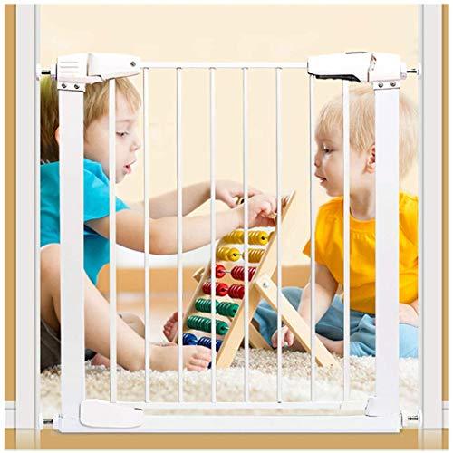 FCXBQ Baby Gate Baby Gates para escaleras Valla Valla de Seguridad para niños Valla Puerta para Mascotas Puerta de perforación sin Cierre automático (Color: Blanco, Tamaño: 132-138cm)
