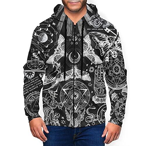 Sudadera con capucha para hombre con cremallera completa con capucha y diseño clásico con capucha, Occult Divination Ouija - Tabla de adivinación, color negro, XL