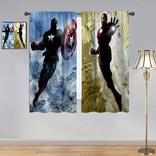 ARYAGO Black Out Cortinas The Avengers, Super Hero Captain America & Iron Man cortina cortina de ventana para dormitorio o sala de estar 153 x 182 cm