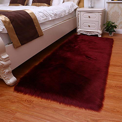 WEIDD Floor Rugs For Living Room Large Fluffy Non Slip Pad Thick Pile Height Modern Area Rugs Faux Fur Sheepskin for Bedroom Sofa Living Room,Vino Rojo Los 30cm * 30cm