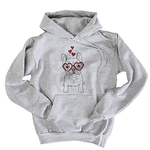 Inkopious Valentine PuppyPierre The French Bulldog Men's Pullover Hoodie Sweatshirt Large Grey