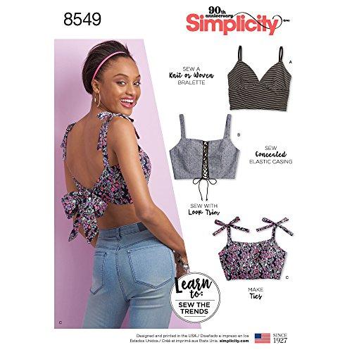 Simplicity Learn Women's Bralette Sewing Patterns, Sizes XXS-XXL