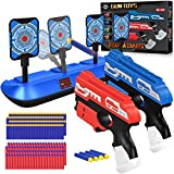 POKOBOY 2 Pack Blaster Guns Boys Toy-with Electronic Shooting Target& 80 Soft Foam Darts Bullets Compatible with Nerf Guns, Electronic Scoring Auto Reset 4 Targets