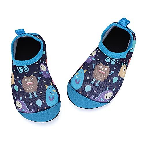 TIZAX Zapatos Verano de Agua para bebés Zapatos Escarpines Antideslizantes para niños Calcetines Descalzo de Secado rápido para Playa Piscina natación Monstruo Azul 22/23