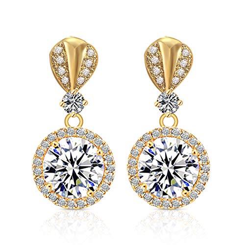 Pendientes de corazón de amor con circonitas cúbicas brillantes, de oro hipoalergénico, para mujeres, regalo de boda o cumpleaños