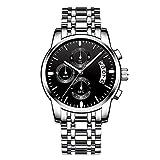 L.W.SURL Reloj Diario Resistente al Agua para Hombres Reloj Luminoso de Cuarzo Reloj de Cuarzo Banda de Acero Inoxidable Asistencia Escolar Viajero Reloj de Regalo (Color : 06 Negro, Size : Gratis)