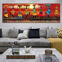 抽象的なアフリカの女性のキャンバスの絵画黒人女性ダンサーのキャンバスアートポスターとプリントアフリカの壁の写真家の装飾65x185cmフレームなし