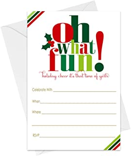 Oh Fun Christmas Party Invitations with Envelopes (25 Pack) Fill in Blank Invites for Holiday Celebrations, Festive Dinner, Get Merry Cocktail Parties, Holly Jolly Celebrations