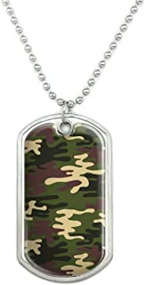 Green Camouflage Military Dog Tag Pendant Necklace with Chain
