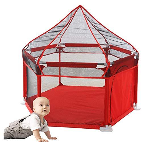 OSHA HJWMM Parque Infantil Bebe, Valla de Juegos for Niños Interior Centro de Actividades for Niños con Mosquitera Fácil de Montar (Color : Red, Size : 128x155x66.5cm)