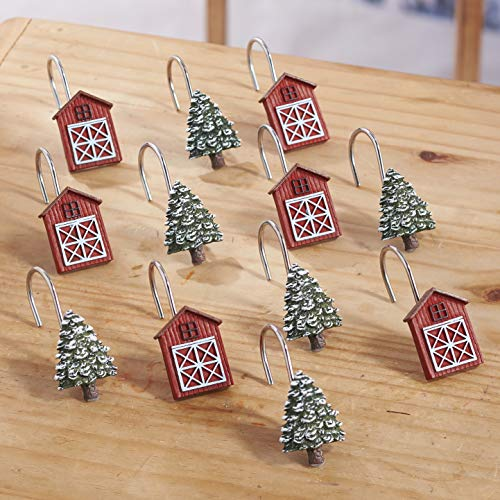 The Lakeside Collection Christmas Shower Curtain Hooks with Decorative Trees and Barns - Set of 12