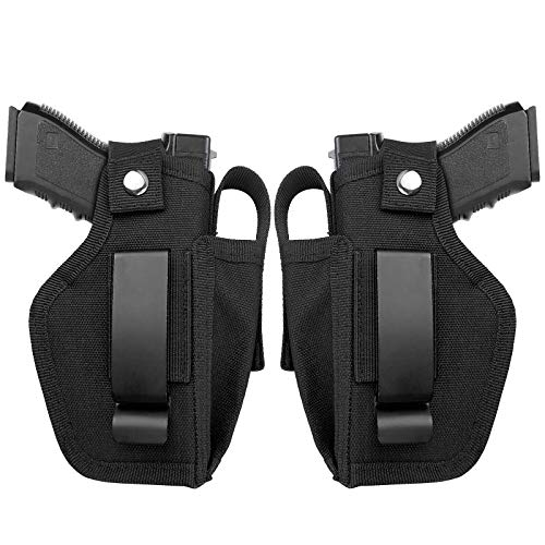 ELVO 2 Pack Concealed Carry Holster with Magazine Pouch, Universal Inside The Waistband IWB Gun Holsters Right and Left Hand Draw for Women and Men, Fits Subcompact Compact Full Size Pistols