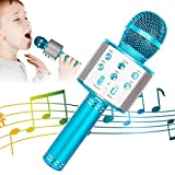 Wireless Bluetooth Karaoke Microphone, 5-in-1 Portable Handheld Karaoke Mic Speaker Player Recorder with Adjustable Remix FM Radio for Kids Adults Birthday Party KTV Christmas (Blue)