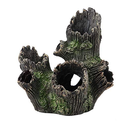 HEEPDD Decoración de Madera Flotante de Resina Artificial para Acuario, pecera bajo el Agua, Tronco de árbol Hueco, Cueva, camarón, Adorno de Refugio para esconder(UNA)
