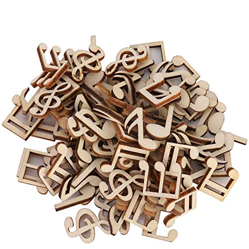 ViaGasaFamido Home Decorations, 100 Pcs Wooden Music Note Mixed Decorative 2cm Home Embellishment Note Clip Decorations Accessory(Wooden Music Note)