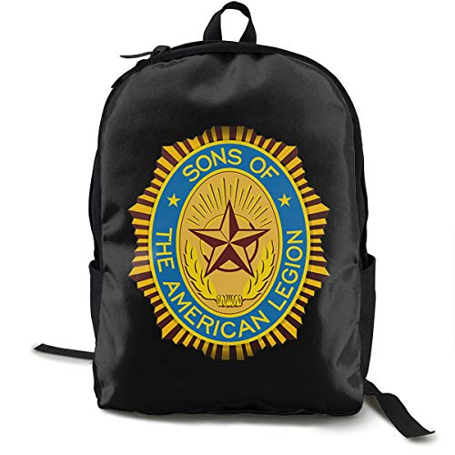 N / A American Legion Classic Backpack Schoolbag Black Bag Polyester Unisex School Work Travel