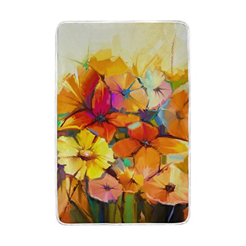 Spring Flower Colorful Daisy Painting Polyester Microfiber Throw Blanket 60' x 90' Lightweight Cozy Couch Blanket Bed Blanket by My Daily