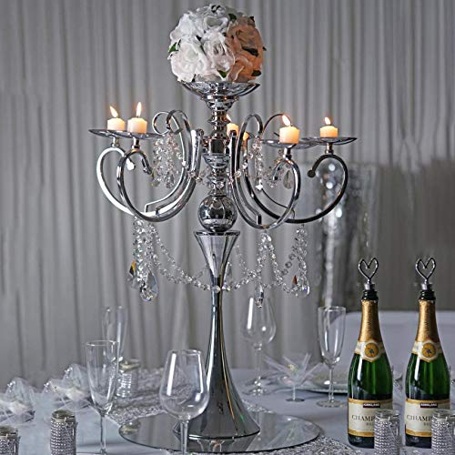 "Efavormart 27.5"" Tall Silver Metal Candelabra Chandelier Votive Candle Holder Wedding Centerpiece - With Acrylic Chains"