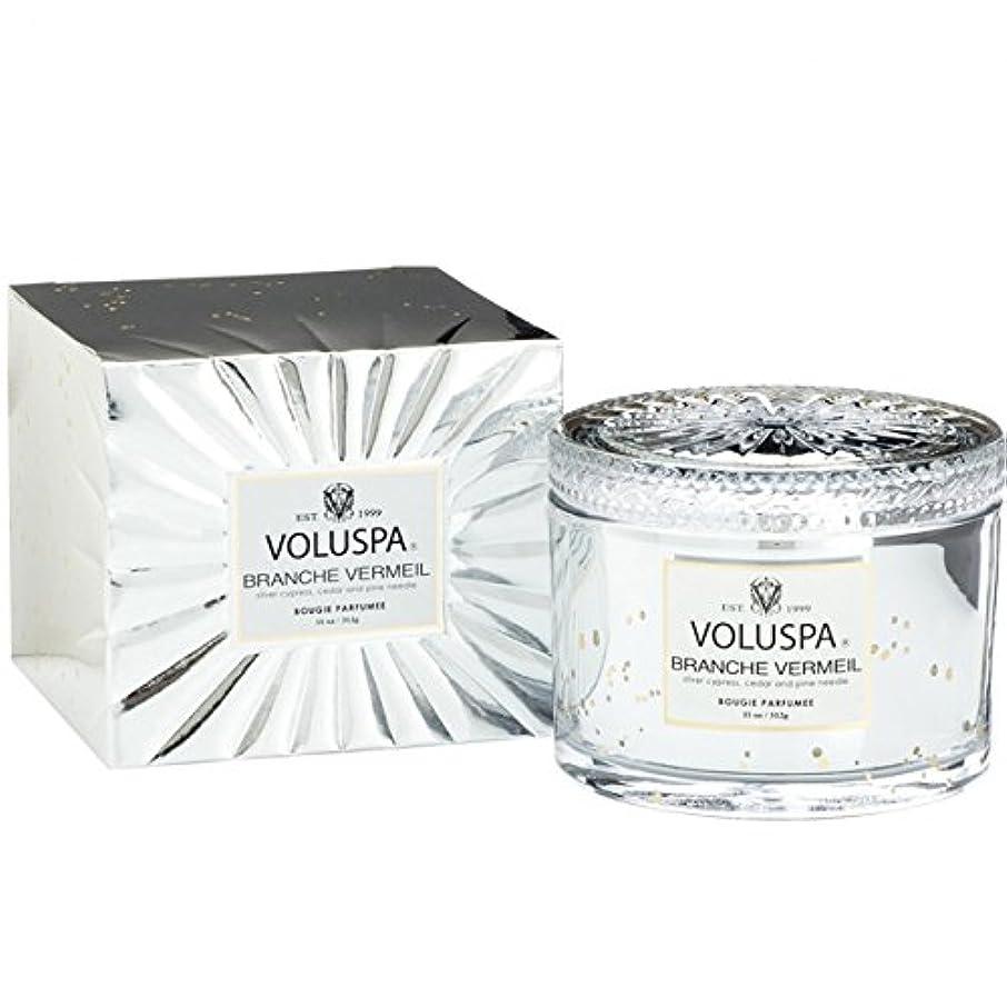 リブ追加する薄汚いVoluspa ボルスパ ヴァーメイル ボックス入り グラスキャンドル フ?ランチヴァーメイル BRANCHE VERMEIL VERMEIL BOX Glass Candle