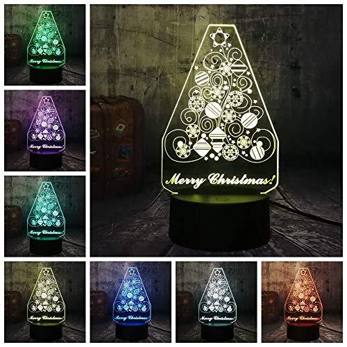 Creative Snowflake Christmas Tree 3D LED Lighting RGB Night Lights Warm Desk Lamp Home Decro Happy New Year Gift for Kids