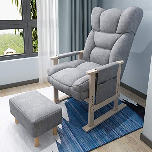 Ergonomie mit Lendenwirbelstütze, Gaming-Stuhl, verschleißfest, zum Entspannen und für die Freizeit, mit Fußstütze für Zuhause und Arbeit (Farbe: Grau)